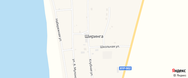 Клубная улица на карте поселка Ширинга с номерами домов