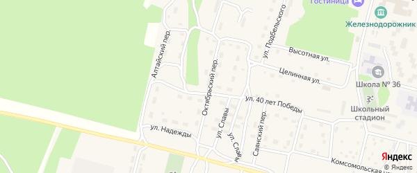 Октябрьский переулок на карте поселка Нового Уояна с номерами домов