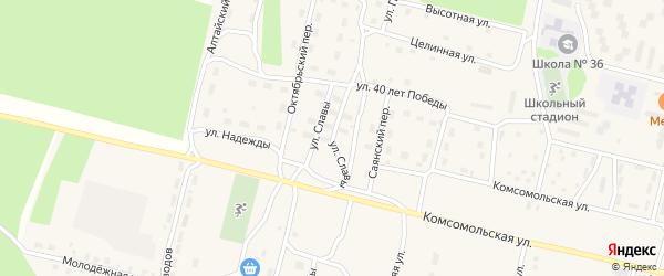 Улица Славы на карте поселка Нового Уояна с номерами домов