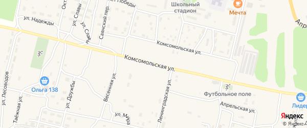 Комсомольская улица на карте поселка Нового Уояна с номерами домов