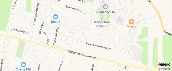 Светлая улица на карте поселка Нового Уояна с номерами домов
