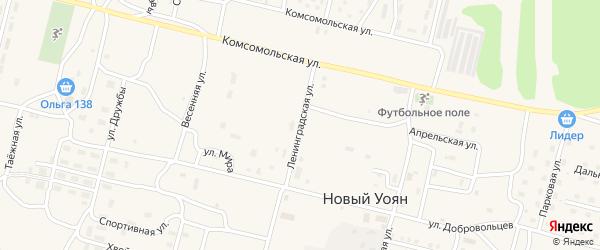 Ленинградская улица на карте поселка Нового Уояна с номерами домов