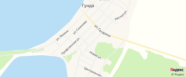 Карта поселка Гунда в Бурятии с улицами и номерами домов