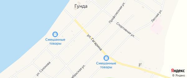 Профсоюзная улица на карте поселка Гунда с номерами домов