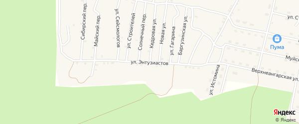Улица Энтузиастов на карте поселка Нового Уояна с номерами домов
