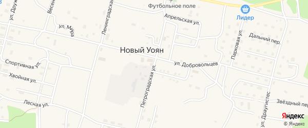 Петроградская улица на карте поселка Нового Уояна с номерами домов
