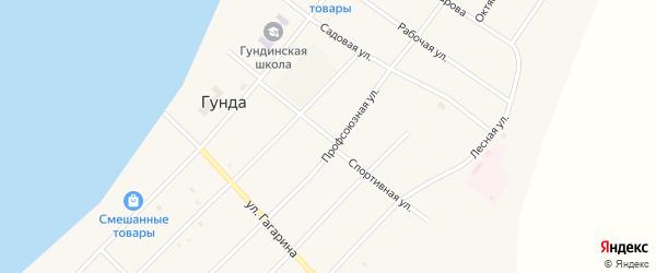 Спортивная улица на карте поселка Гунда с номерами домов