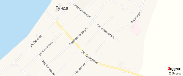 Октябрьская улица на карте поселка Гунда с номерами домов