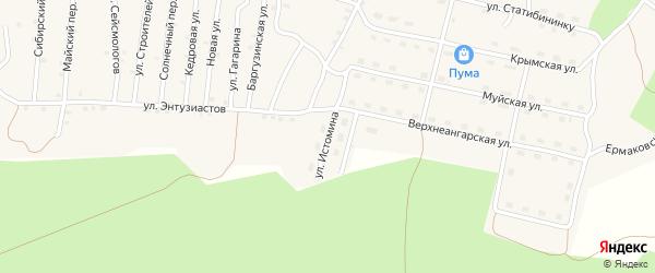 Улица Истомина на карте поселка Нового Уояна с номерами домов