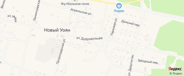 Улица Добровольцев на карте поселка Нового Уояна с номерами домов