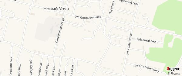 Сосновая улица на карте поселка Нового Уояна с номерами домов
