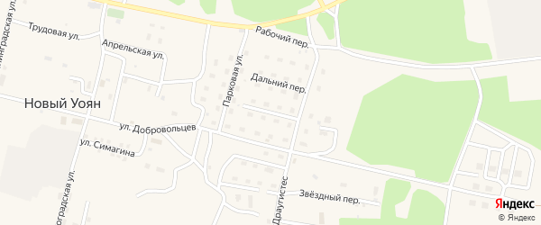 Лазурный переулок на карте поселка Нового Уояна с номерами домов