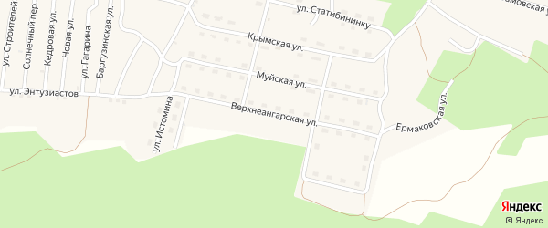 Верхнеангарская улица на карте поселка Нового Уояна с номерами домов