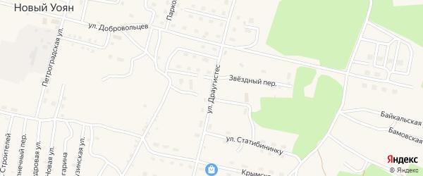 Улица Драугистес на карте поселка Нового Уояна с номерами домов