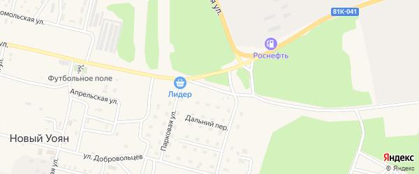 Рабочий переулок на карте поселка Нового Уояна с номерами домов