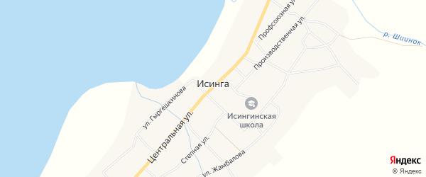Местность Хутэл-Нуур на карте села Исинги с номерами домов