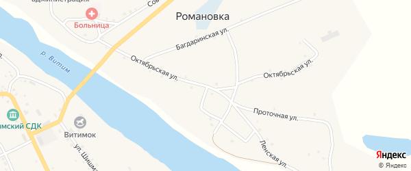 Октябрьская улица на карте села Романовки с номерами домов