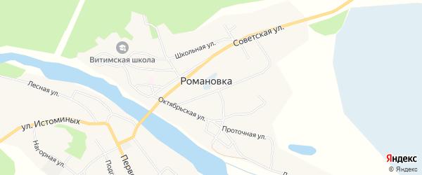 Карта села Романовки в Бурятии с улицами и номерами домов