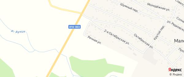 Речная улица на карте Маловского поселка с номерами домов