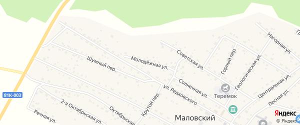 Молодежная улица на карте Маловского поселка с номерами домов