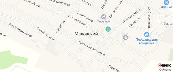 Солнечная улица на карте Маловского поселка с номерами домов