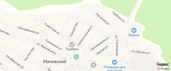 Геологическая улица на карте Маловского поселка с номерами домов