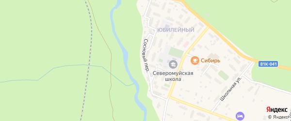 Сосновый переулок на карте поселка Северомуйска с номерами домов