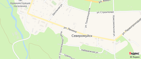 Улица Ленина на карте поселка Северомуйска с номерами домов