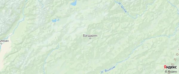 Карта Баунтовского эвенкийского района республики Бурятия с городами и населенными пунктами