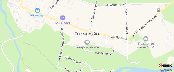 Первомайский переулок на карте поселка Северомуйска с номерами домов