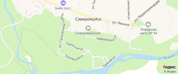 Набережная улица на карте поселка Северомуйска с номерами домов