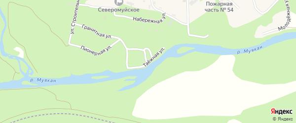 Таежная улица на карте поселка Северомуйска с номерами домов