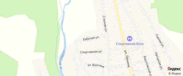 Рабочая улица на карте села Багдарина с номерами домов