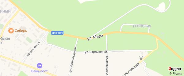 Улица Мира на карте поселка Северомуйска с номерами домов