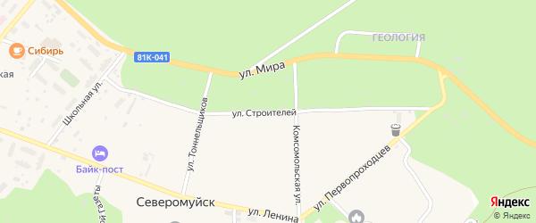 Улица Строителей на карте поселка Северомуйска с номерами домов