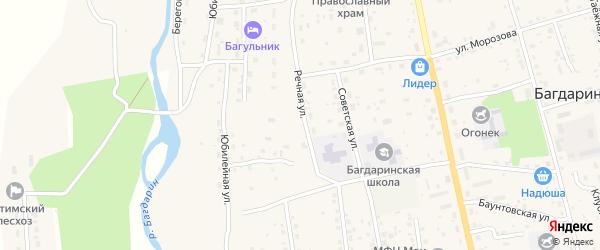 Речная улица на карте села Багдарина с номерами домов