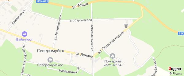 Комсомольская улица на карте поселка Северомуйска с номерами домов