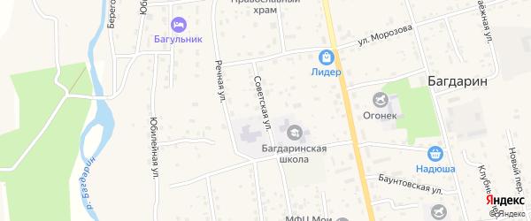 Советская улица на карте села Багдарина с номерами домов