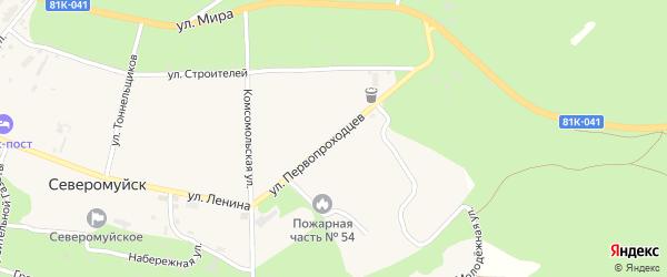 Улица Первопроходцев на карте поселка Северомуйска с номерами домов