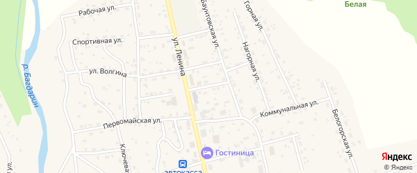 Комсомольская улица на карте села Багдарина с номерами домов