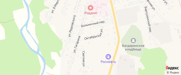 Октябрьская улица на карте села Багдарина с номерами домов