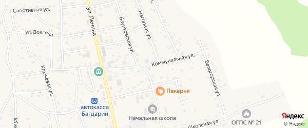 Коммунальная улица на карте села Багдарина с номерами домов