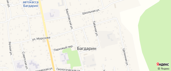 Лесной переулок на карте села Багдарина с номерами домов