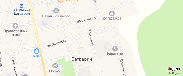 Таежная улица на карте села Багдарина с номерами домов