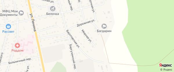 Мирная улица на карте села Багдарина с номерами домов