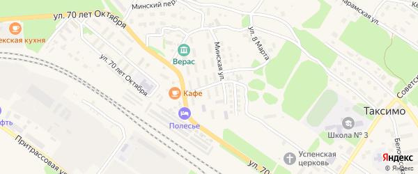Минская улица на карте поселка Таксимо с номерами домов