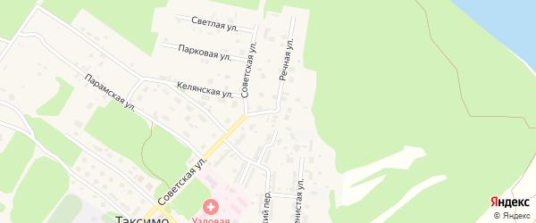Речной переулок на карте поселка Таксимо с номерами домов