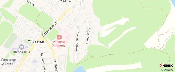 Тенистая улица на карте поселка Таксимо с номерами домов