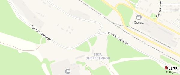 Притрассовая улица на карте поселка Таксимо с номерами домов
