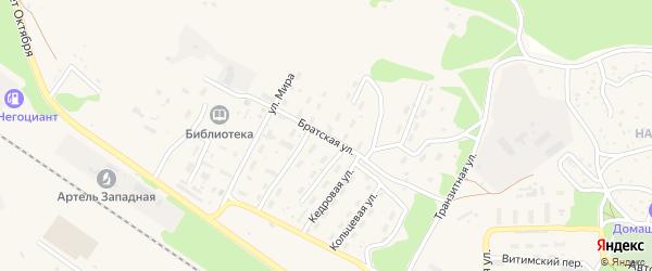 Братская улица на карте поселка Таксимо с номерами домов